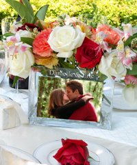 Use your engagement pictures, and create a centerpiece worth 1000 words!