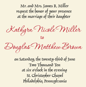 wedding invitation wording groom's parents