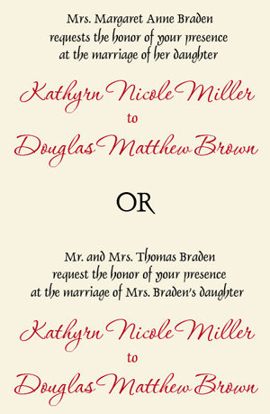 wording wedding invitation wording divorced and remarried parents