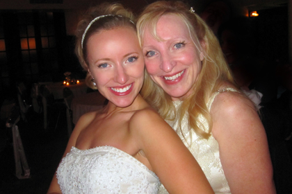 Corrie, the bride with a million ideas, posing with her gorgeous Mama!  (For cereal, TWINS!)