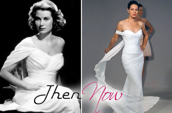 A single sleeved offtheshoulder Grecian dress on Grace Kelly before a