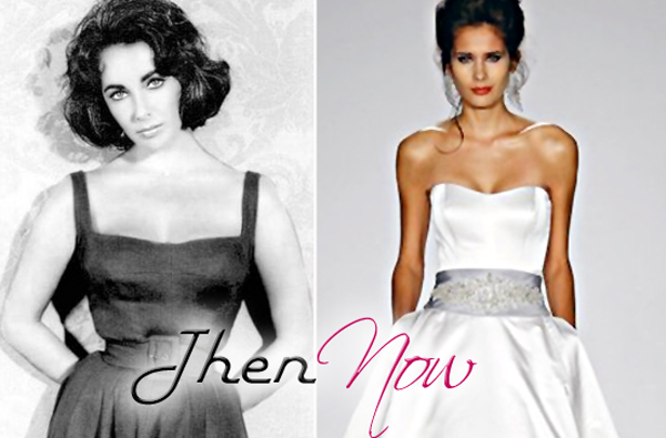 A belted, cinched waist and pockets on Elizabeth Taylor before & a Priscilla of Boston gown after